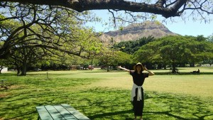 公園とダイアモンドヘッドと妻